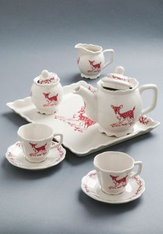 So cute!  Charmed to a Tea Set - Vintage Inspired, Folk Art, Rustic, White, Red, Print with Animals