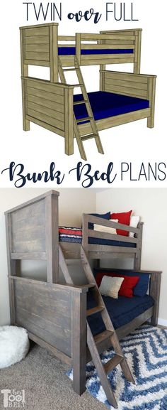 Maximize the space in your kid's bedroom with bunk beds. Free twin over full bunk bed plans to build a solid bunk bed for your kids. Bunk Beds For Girls Room, Bunk Beds With Stairs, Cool Bunk Beds, Twin Bunk Beds, Kids Bunk Beds, Bed Rooms, Kids Bedroom, Basement Bedrooms, Farmhouse Bunk Beds