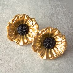 "BiG Pair sewing buttons Gold Poppies art nouveau 1 1/8"" x2, $5.49 by brizelsupplies"
