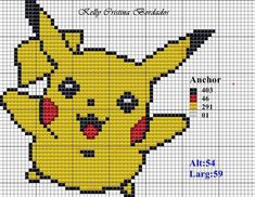Angela Embroidery: Bordei this beautiful bichinho.ficou rsrsss is easy going to do? Pixel Art, Pokemon Cross Stitch, Graph Crochet, Pokemon Craft, Graph Paper Art, Stitch Cartoon, Pixel Pattern, Manta Crochet, Beaded Animals