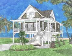 The Sandpiper Cottage is offered by SDC House Plans. View more All House Plans on the SDC website. Beach Cottage Style, Beach Cottage Decor, Coastal Cottage, Coastal Homes, Coastal Living, Beach Cottage Exterior, Cozy Cottage, Cottage Living, Beach House Tour