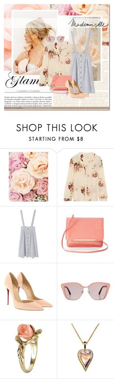 """mademoiselle"" by lifestyle-ala-grace ❤ liked on Polyvore featuring Joie, MANGO, Apt. 9, Christian Louboutin, Prada, Vintage, Bellagio, Spring, peach and floralprint"