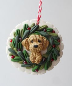 reserved for prowler goldendoodle christmas ornie by raquel at the wrc hand sculpted polymer clay ornament pet dog lover