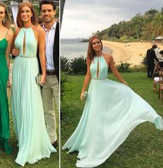 Mint Green Wedding Guest Dresses Sexy Backless 2017 Long Chiffon Bridesmaid Dress Formal Gown New Arrival Formal Wedding Guests, Wedding Guest Gowns, Best Wedding Dresses, Dress Wedding, Wedding Ceremony, A Line Evening Dress, Evening Dresses, Sexy Dresses, Prom Dresses