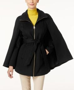 Laundry by Shelli Segal Belted Cape Coat, Only at Macy's - Black M
