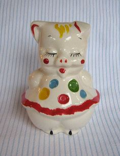 and this little piggy went to wee wee wee, all the way home Pig Cookies, Biscuit Cookies, Cute Cookies, This Little Piggy, Little Pigs, Cookie Jars, Cookie Containers, Shawnee Pottery, Ceramic Jars