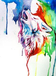 Rainbow Wolf Art Print by Katy Lipscomb from Saved to Wall Stuff. Watercolor Wolf, Watercolor Paintings, Watercolor Tattoos, Easy Watercolor, Watercolor Animals, Aquarell Tattoo, Little Buddha, Desenho Tattoo, Wow Art
