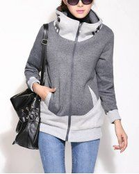 Casual Hooded Long Sleeve Zippered Color Block Flocky Women's Coat