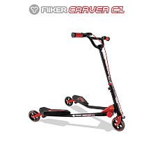 Y-Volution Y Fliker Carver C1 Scooter - Matte Black with Red Pads