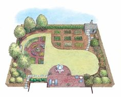 Eplans Landscape Plan - Formal Herb and Vegetable Gardens Landscape from Eplans - House Plan Code HWEPL11456