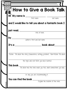 Book Talks for Elementary Kids - Lessons by Sandy Book Talk Library Activities, Reading Resources, Reading Skills, Teaching Reading, Reading Books, Reading Response Activities, Reading Incentives, Reading Comprehension Strategies, Guided Reading Groups