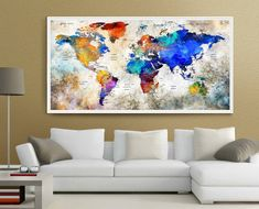 Push Pin World Map LARGE Wall Art World Map Watercolor Countries - World Map with Large, Push Pin It Map, Pin it Adventures, Gift Idea ------------------------------------------------------------------------------------------------ Available sizes are shown in the SELECT A SIZE drop