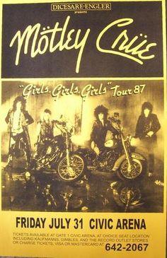 Motley Crue Girls, Girls, Girls Tour '87 Poster Print