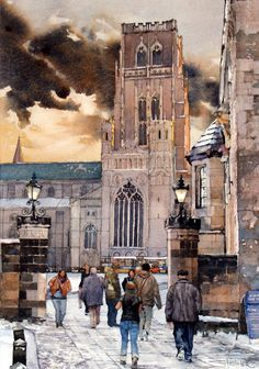 Original Watercolours for Sale – Stuart Fisher Watercolours Durham Cathedral, Cathedral Church, Watercolor City, Watercolour Paintings, Pictures Of England, Durham England, Durham City, St Johns College, Northern England