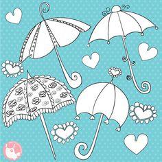 80% OFF SALE Umbrella digital stamp commercial use, vector graphics, digital stamp, - DS327 by Prettygrafikdesign on Etsy