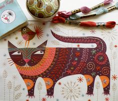 CAT Stitch kit by Nancy Nicholson – French Needlework Kits, Cross Stitch, Embroidery, Sophie Digard – The French Needle Cat Embroidery, Embroidery Designs, Cross Stitch Embroidery, Machine Embroidery, Japanese Embroidery, Machine Applique, Applique Designs, Diy Broderie, Contemporary Embroidery