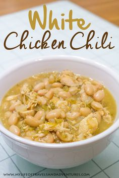 My Life of Travels and Adventures: White Chicken ChiliYou can find White chicken chili and more on our website.My Life of Travels and Adventures: White Chicken Chili Chili Recipes, Crockpot Recipes, Soup Recipes, Dinner Recipes, Cooking Recipes, Healthy Recipes, Dinner Ideas, Oven Cooking, Gourmet