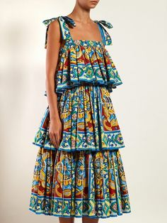 Shop for Majolica Print Tiered Stretch Cotton Midi Dress - Womens - Blue Multi by Dolce & Gabbana at ShopStyle. Blue Fashion, Girl Fashion, Fashion Dresses, Fashion Looks, Womens Fashion, Stunning Dresses, Nice Dresses, Beach Wear Dresses, Summer Dresses