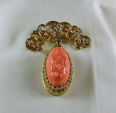 NETTIE ROSENSTEIN Faux Coral Pendant Brooch Duo by KatsCache, $295.00
