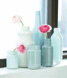So pretty. Pastel painted jar vases.