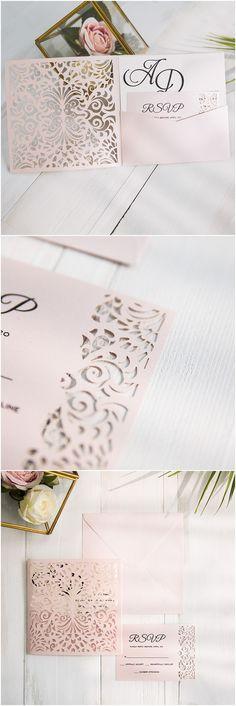 romantic pink laser cut pocket wedding invitations