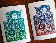 'Sleeping beauties' -linocut handmade cards
