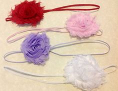 Set of Four Single Chiffon Flower Headbands by butterflyashes, $10.00