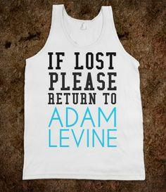 If Lost please return to Adam Levine tank top tee t shirt tshirt