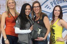 Caren of Big Sky Motorcycles wins a #GarageLeathers Solo Bag in Phoenix, 2014