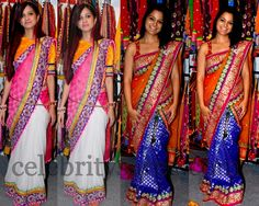 Celebrities in Half and Half Fancy Sarees
