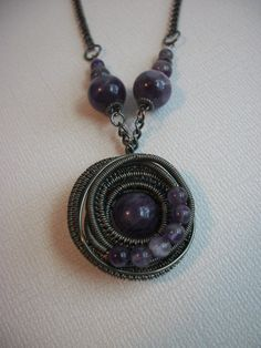 Wire Wrapped Amethyst Pendant in Gun Metal by BuyThePlaceWithBeads, $20.00