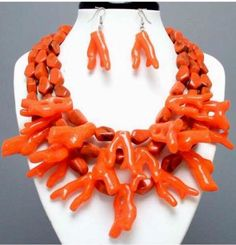 Chunky-Branch-Sea-Orange-CoRal-Multi-Layered-Bead-Pearl-Big-Necklace-Earring-Set