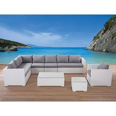 awesome white grey wood modern design garden furniture outdoor l shape sofa grey seat cushion armchairs wood floor at house with outdoor sectional furniture