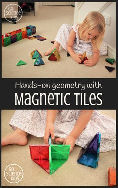 Hands-on geometry and math with Magna-Tile magnetic tiles. Great toy for encouraging STEM skills through play! – Go Science Kids Stem For Kids, Math For Kids, Science For Kids, Science Activities, Math Games, Brain Craft, 2d And 3d Shapes, Stem Skills, Stem Learning