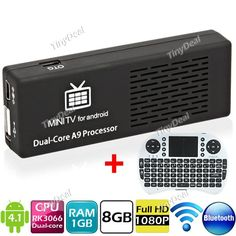 http://www.tinydeal.com/it/mk808-android-41-tv-box-wireless-92-key-keyboard-mouse-white-p-111293.html  MK808 Dual Core Processor Android 4.1 8GB TV Box