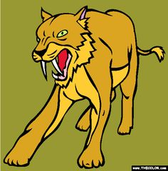 sabertooth cat coloring page
