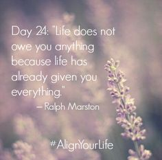"Day 24: ""Life does not owe you anything because life has already given you everything."" – Ralph Marston #AlignYourLife www.AlignedHolistics.com"