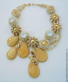 Купить Капли Меда - желтый, Янтарный, янтарь, мед, Медовый, солнечный, голубой, летнее украшение