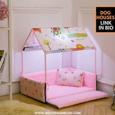 Washable Home Shape Dog Bed + Tent Dog Kennel Pet Removable Cozy House for Puppy Dogs Cat Small Animals Home Products,Pink,M - Dog Store Dog House Bed, Cozy House, Small Dog House, House Beds, Dog Tent Bed, Dog Beds, Cute Animals Puppies, Small Animals, Small Dogs