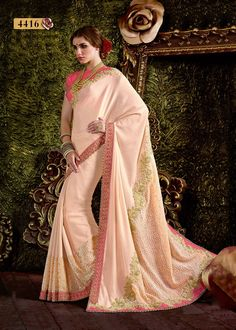 Buy Apparels- Light Peach Colour Cord Embroidery and Hand Work Wedding Wear Saree