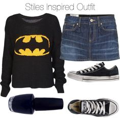 Stiles Inspired Outfit by veterization on Polyvore featuring moda, Dondup, Converse and OPI