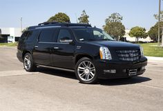 Becker Stretched Cadillac Escalade ESV by Becker Automotive Design in Oxnard CA . Click to view more photos and mod info. Cadillac Escalade, Escalade Esv, Weapons Guns, Automotive Design, More Photos, Custom Cars, Luxury Cars, Room Ideas, Fancy Cars