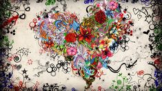 General 1920x1080 abstract flowers hearts rose
