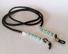 - Spectacle cord - a unique product by hituk on DaWanda Leather Necklace, Leather Jewelry, Beaded Shoes, Eyeglass Holder, Scarf Jewelry, Eyeglasses For Women, Jewellery Sketches, Glass Necklace, Handmade Bracelets