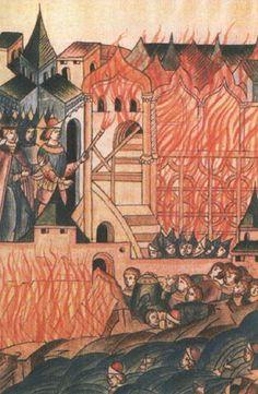 Востание в Твери против татар в 1327 году - Лицевой летописный свод. Рукописи 16 века