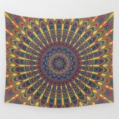 Bohemian oval mandala Wall Tapestry by Mandala Magic by David Zydd - Small: x Mandala Tapestry, Wall Tapestry, Tapestry Design, Mandala Art, Large Canvas Art, Canvas Wall Art, Mandalas Painting, Shops, Owl