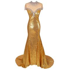 Amazon.com: Dresstells® Women's Gold Long Mermaid Prom Dress Evening... ($146) ❤ liked on Polyvore featuring dresses, gowns, white evening gowns, evening gowns, evening dresses, white cocktail dresses and long evening gowns