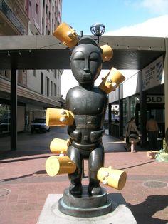 sculpture, Brett Murray, Bart Simpson Bart Simpson, Fire, Sculpture, Architecture, Cabo, Artist, City, Arquitetura, Cable