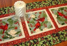Christmas Cardinals Quilted Table Runner or Wall Hanging