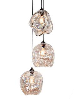 Pendant Light Set 3 Pc Lighting Glass By MantraGlassArt